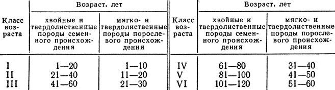 Таблица 6. Распределение насаждений на классы возраста